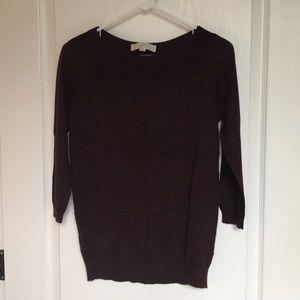 LOFT 3/4 sleeve sweater in dark burgundy